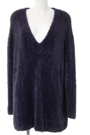 Zara Knit V-Ausschnitt-Pullover blauviolett Casual-Look