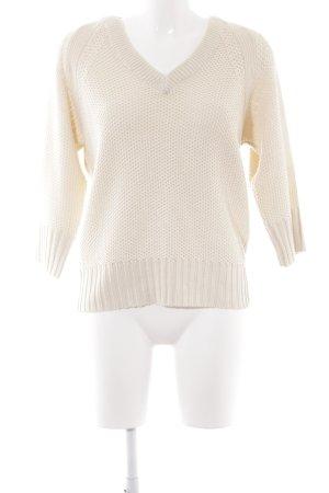 Zara Knit V-Ausschnitt-Pullover creme Casual-Look