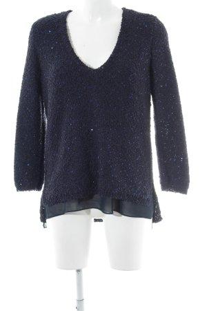 Zara Knit V-Ausschnitt-Pullover dunkelblau Casual-Look
