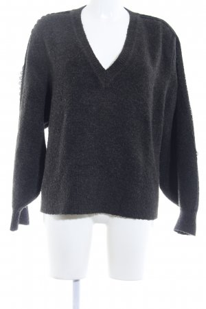 Zara Knit V-Ausschnitt-Pullover dunkelgrau-schwarz Casual-Look