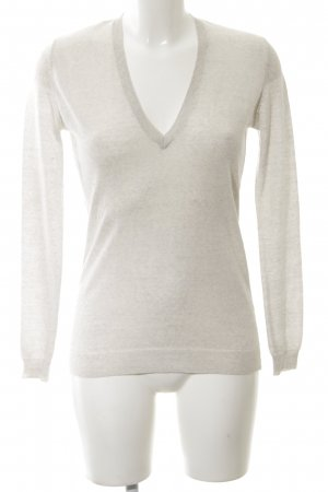 Zara Knit V-Neck Sweater natural white flecked business style