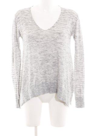 Zara Knit V-Ausschnitt-Pullover hellgrau meliert Casual-Look