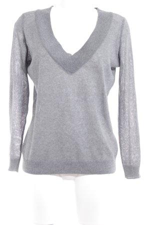 Zara Knit V-halstrui grijs casual uitstraling