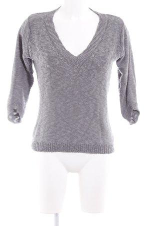 Zara Knit V-Ausschnitt-Pullover grau Casual-Look