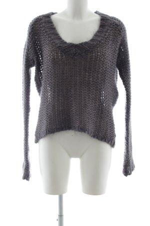 Zara Knit V-Ausschnitt-Pullover grauviolett Casual-Look