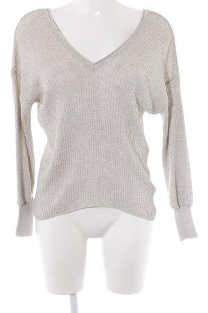 Zara Knit V-Ausschnitt-Pullover hellbeige Casual-Look