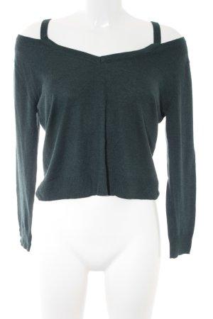 Zara Knit V-Ausschnitt-Pullover petrol Casual-Look