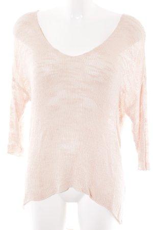 Zara Knit V-Ausschnitt-Pullover rosé Casual-Look