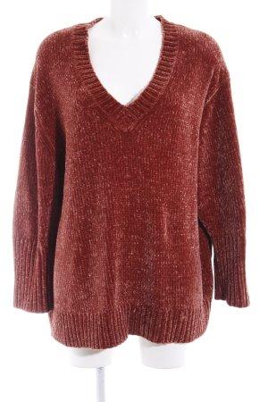 Zara Knit V-Ausschnitt-Pullover rostrot Casual-Look