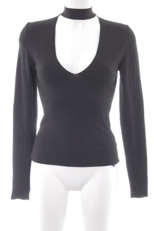 Zara Knit V-Ausschnitt-Pullover schwarz Casual-Look