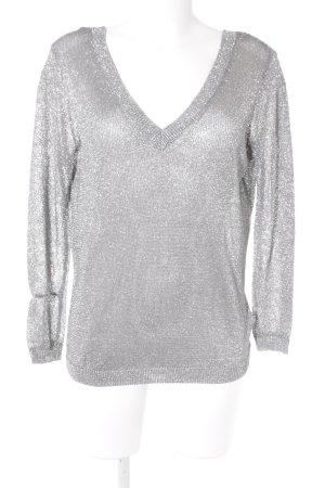 Zara Knit V-Ausschnitt-Pullover silberfarben Glitzer-Optik