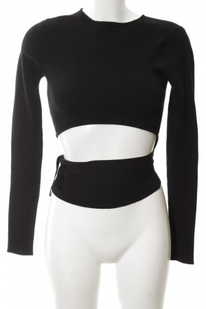 Zara Knit Wickelshirt schwarz Casual-Look