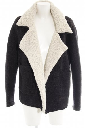 Zara Knit Wool Jacket dark blue-natural white casual look