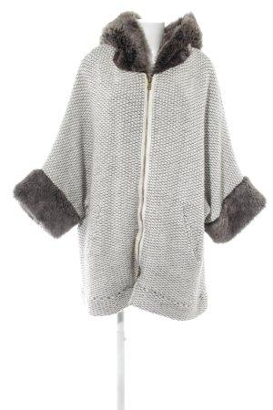 Zara Knit Wolljacke wollweiß-grau Kuschel-Optik