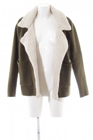 Zara Knit Wool Jacket natural white-forest green casual look