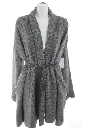 Zara Knit Manteau en laine gris clair-gris anthracite motif rayé élégant