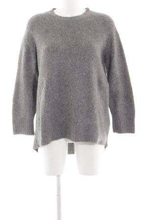 Zara Knit Wollpullover hellgrau meliert Elegant