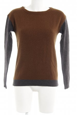 Zara Knit Wollpullover braun-anthrazit Colourblocking Casual-Look