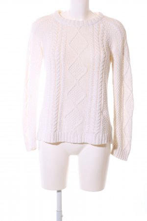 Zara Knit Cable Sweater white cable stitch business style