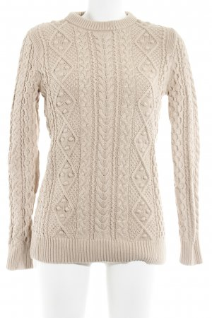 Zara Knit Cable Sweater beige cable stitch casual look