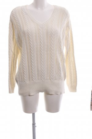 Zara Knit Cable Sweater cream cable stitch casual look