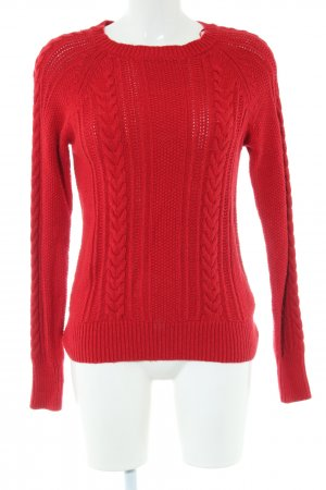 Zara Knit Cable Sweater red cable stitch casual look