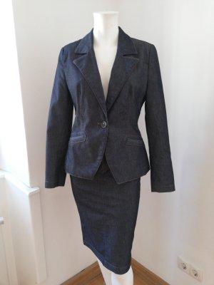 Zara Basic Traje para mujer azul oscuro tejido mezclado
