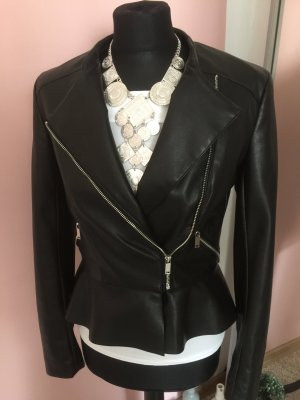 Zara Kunst Leder Jacke schwarz Gr.36 peplum