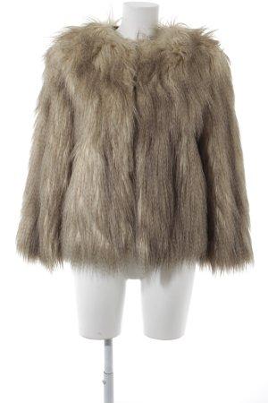 Zara Veste en fausse fourrure crème-gris brun style extravagant