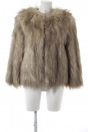 Zara Fake Fur Jacket cream-grey brown extravagant style