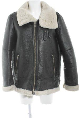 Zara Fake Fur Jacket black-cream street-fashion look