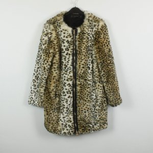 Zara Fake Fur Coat black-sand brown polyester