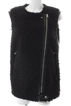 Zara Vest van imitatiebont zwart straat-mode uitstraling