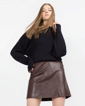 Zara Kunstleder High Waist Rock A-linie Bordeaux Gr. S-M Blogger