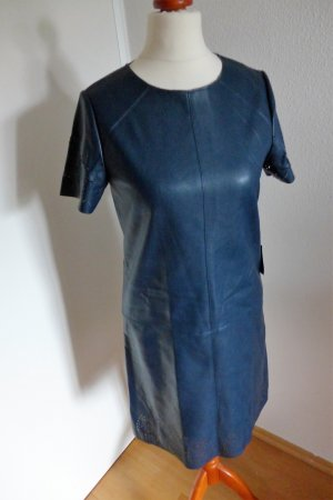 Zara Kunstleder Kleid Boho Hippie Ibiza petrol blau XS S 34 36 NEU