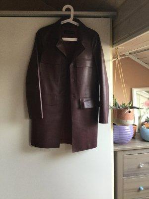 Zara Manteau en cuir bordeau