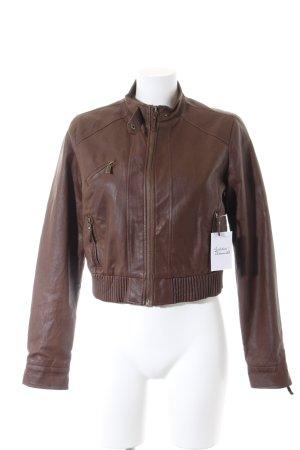 Zara Veste en cuir synthétique brun style universitaire