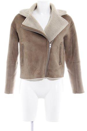Zara Veste en cuir synthétique chameau style décontracté