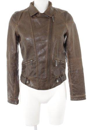 Zara Veste en cuir synthétique brun foncé style décontracté