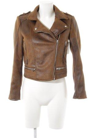 Zara Faux Leather Jacket light brown biker look