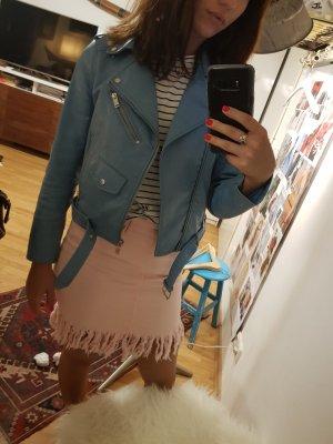 Zara Faux Leather Jacket baby blue-azure