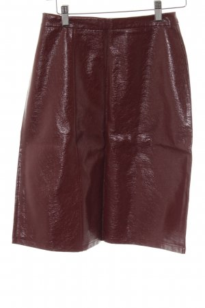 Zara Faux Leather Skirt dark red casual look