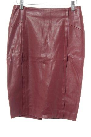 Zara Jupe en cuir synthétique rouge foncé élégant