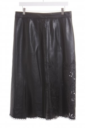 Zara Kunstlederrock schwarz florales Muster Elegant