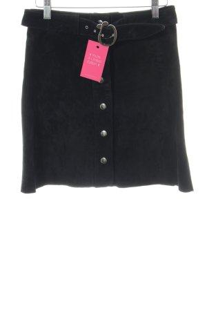 Zara Leren rok zwart simpele stijl