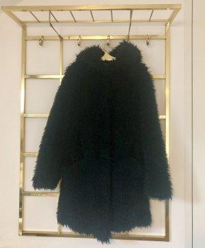 Zara Fake Fur Coat dark green