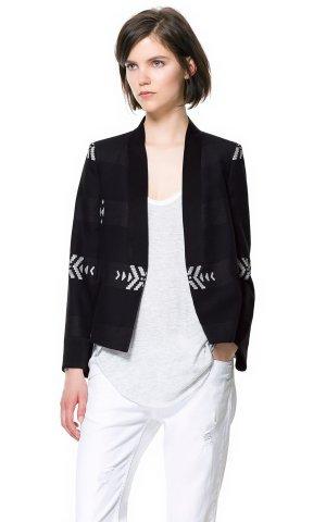 Zara Kurz-Blazer schwarz-weiß Casual-Look