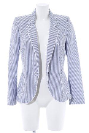 Zara Kurz-Blazer stahlblau-wollweiß Streifenmuster Business-Look