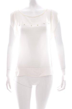 Zara Kurzarm-Bluse creme Materialmix-Look