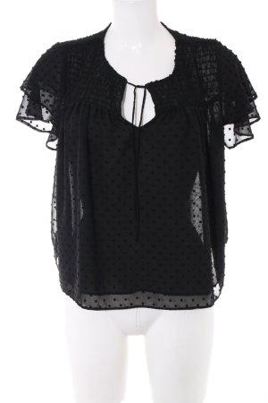 Zara Kurzarm-Bluse schwarz Punktemuster Elegant